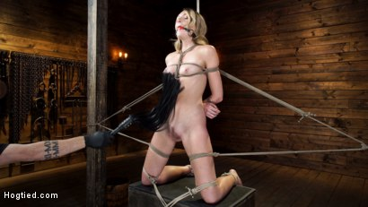 Photo number 1 from Charlotte Sins: Tall Blonde Beauty Makes Her Debut shot for Hogtied on Kink.com. Featuring Charlotte Sins in hardcore BDSM & Fetish porn.