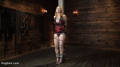 Photo number 1 from Penny Pax: Blue-Eyed Redhead Damsel Tormented in Strict Bondage shot for Hogtied on Kink.com. Featuring Penny Pax in hardcore BDSM & Fetish porn.