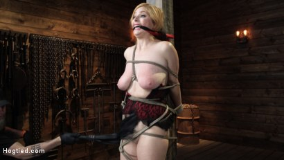 Photo number 4 from Penny Pax: Blue-Eyed Redhead Damsel Tormented in Strict Bondage shot for Hogtied on Kink.com. Featuring Penny Pax in hardcore BDSM & Fetish porn.