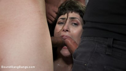 Photo number 8 from Audrey's First Gang Bang: Big Tit Slut Gets Stuffed Airtight  shot for Bound Gang Bangs on Kink.com. Featuring Audrey Noir, Ramon Nomar, Tommy Pistol, Jake Adams, Robby Echo and Donny Sins in hardcore BDSM & Fetish porn.
