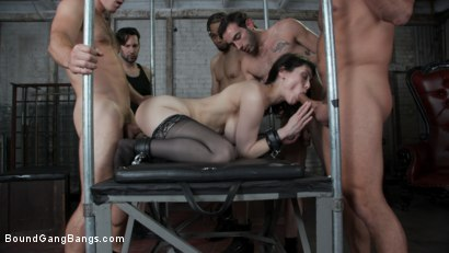 Photo number 9 from Audrey's First Gang Bang: Big Tit Slut Gets Stuffed Airtight  shot for Bound Gang Bangs on Kink.com. Featuring Audrey Noir, Ramon Nomar, Tommy Pistol, Jake Adams, Robby Echo and Donny Sins in hardcore BDSM & Fetish porn.
