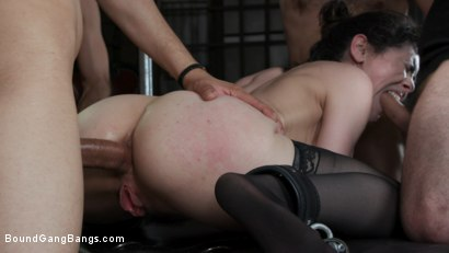 Photo number 15 from Audrey's First Gang Bang: Big Tit Slut Gets Stuffed Airtight  shot for Bound Gang Bangs on Kink.com. Featuring Audrey Noir, Ramon Nomar, Tommy Pistol, Jake Adams, Robby Echo and Donny Sins in hardcore BDSM & Fetish porn.