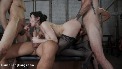 Photo number 24 from Audrey's First Gang Bang: Big Tit Slut Gets Stuffed Airtight  shot for Bound Gang Bangs on Kink.com. Featuring Audrey Noir, Ramon Nomar, Tommy Pistol, Jake Adams, Robby Echo and Donny Sins in hardcore BDSM & Fetish porn.