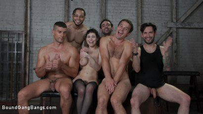 Photo number 26 from Audrey's First Gang Bang: Big Tit Slut Gets Stuffed Airtight  shot for Bound Gang Bangs on Kink.com. Featuring Audrey Noir, Ramon Nomar, Tommy Pistol, Jake Adams, Robby Echo and Donny Sins in hardcore BDSM & Fetish porn.