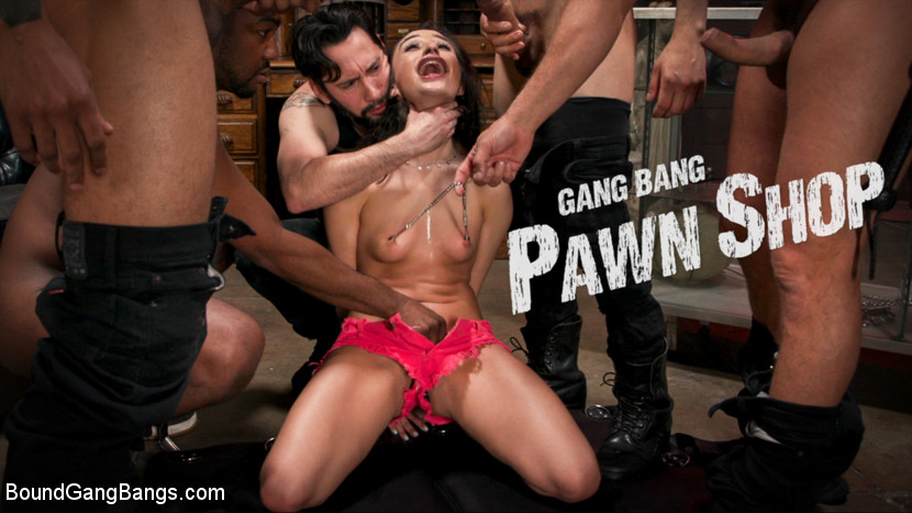 BoundGangBangs.com - Gang Bang Pawn Shop: Isabella Nice Pays off Debt with All Her Holes