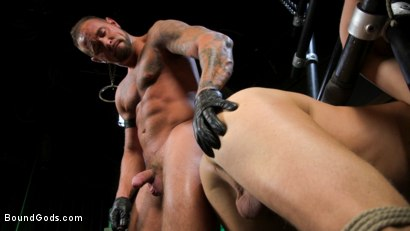 Photo number 17 from I Dream of Leather: Damon Heart Submits to Leather God Michael Roman shot for Bound Gods on Kink.com. Featuring Michael Roman and Damon Heart in hardcore BDSM & Fetish porn.