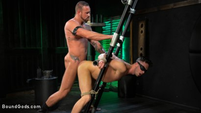 Photo number 23 from I Dream of Leather: Damon Heart Submits to Leather God Michael Roman shot for Bound Gods on Kink.com. Featuring Michael Roman and Damon Heart in hardcore BDSM & Fetish porn.