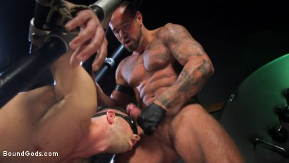 Photo number 24 from I Dream of Leather: Damon Heart Submits to Leather God Michael Roman shot for Bound Gods on Kink.com. Featuring Michael Roman and Damon Heart in hardcore BDSM & Fetish porn.