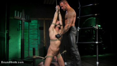 Photo number 4 from I Dream of Leather: Damon Heart Submits to Leather God Michael Roman shot for Bound Gods on Kink.com. Featuring Michael Roman and Damon Heart in hardcore BDSM & Fetish porn.