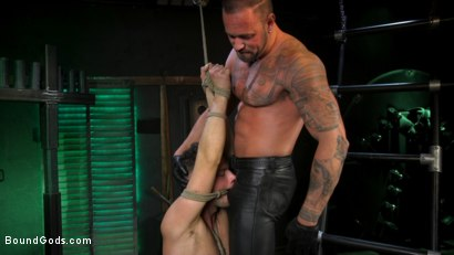 Photo number 5 from I Dream of Leather: Damon Heart Submits to Leather God Michael Roman shot for Bound Gods on Kink.com. Featuring Michael Roman and Damon Heart in hardcore BDSM & Fetish porn.