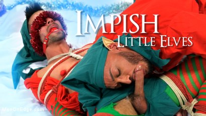 Impish Little Elves: Casey Everett Edged by Santa and his Lil Helper