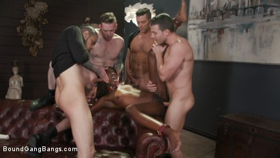 Photo number 17 from Hot Fit Slut Ana Foxxx Bound, Fucked, DP'd and Stuffed Airtight shot for Bound Gang Bangs on Kink.com. Featuring Ana Foxxx, Ramon Nomar, Donny Sins, Codey Steele  and Johnny Goodluck in hardcore BDSM & Fetish porn.