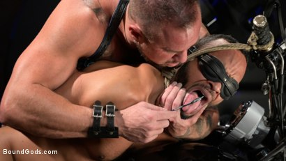 Photo number 11 from Rode Hard: Dillon Diaz Dominated On Michael Roman's Motorcycle  shot for Bound Gods on Kink.com. Featuring Michael Roman and Dillon Diaz in hardcore BDSM & Fetish porn.