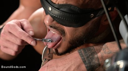 Photo number 12 from Rode Hard: Dillon Diaz Dominated On Michael Roman's Motorcycle  shot for Bound Gods on Kink.com. Featuring Michael Roman and Dillon Diaz in hardcore BDSM & Fetish porn.