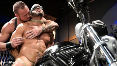 Photo number 14 from Rode Hard: Dillon Diaz Dominated On Michael Roman's Motorcycle  shot for Bound Gods on Kink.com. Featuring Michael Roman and Dillon Diaz in hardcore BDSM & Fetish porn.