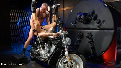 Photo number 19 from Rode Hard: Dillon Diaz Dominated On Michael Roman's Motorcycle  shot for Bound Gods on Kink.com. Featuring Michael Roman and Dillon Diaz in hardcore BDSM & Fetish porn.