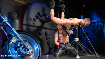 Photo number 3 from Rode Hard: Dillon Diaz Dominated On Michael Roman's Motorcycle  shot for Bound Gods on Kink.com. Featuring Michael Roman and Dillon Diaz in hardcore BDSM & Fetish porn.