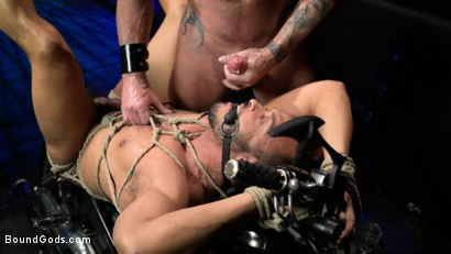 Photo number 22 from Rode Hard: Dillon Diaz Dominated On Michael Roman's Motorcycle  shot for Bound Gods on Kink.com. Featuring Michael Roman and Dillon Diaz in hardcore BDSM & Fetish porn.