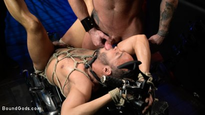 Photo number 23 from Rode Hard: Dillon Diaz Dominated On Michael Roman's Motorcycle  shot for Bound Gods on Kink.com. Featuring Michael Roman and Dillon Diaz in hardcore BDSM & Fetish porn.