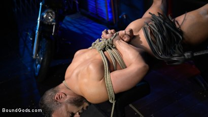 Photo number 5 from Rode Hard: Dillon Diaz Dominated On Michael Roman's Motorcycle  shot for Bound Gods on Kink.com. Featuring Michael Roman and Dillon Diaz in hardcore BDSM & Fetish porn.