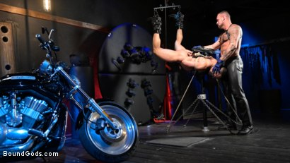 Photo number 6 from Rode Hard: Dillon Diaz Dominated On Michael Roman's Motorcycle  shot for Bound Gods on Kink.com. Featuring Michael Roman and Dillon Diaz in hardcore BDSM & Fetish porn.