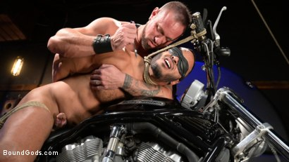 Photo number 10 from Rode Hard: Dillon Diaz Dominated On Michael Roman's Motorcycle  shot for Bound Gods on Kink.com. Featuring Michael Roman and Dillon Diaz in hardcore BDSM & Fetish porn.