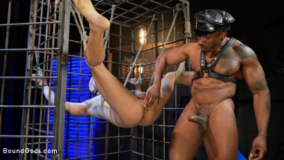 Photo number 13 from Rat in a Cage: Chance Summerlin Serves Leather Muscle God Max Konnor shot for Bound Gods on Kink.com. Featuring Max Konnor and Chance Summerlin in hardcore BDSM & Fetish porn.