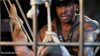 Photo number 16 from Rat in a Cage: Chance Summerlin Serves Leather Muscle God Max Konnor shot for Bound Gods on Kink.com. Featuring Max Konnor and Chance Summerlin in hardcore BDSM & Fetish porn.