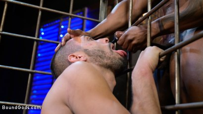 Photo number 18 from Rat in a Cage: Chance Summerlin Serves Leather Muscle God Max Konnor shot for Bound Gods on Kink.com. Featuring Max Konnor and Chance Summerlin in hardcore BDSM & Fetish porn.