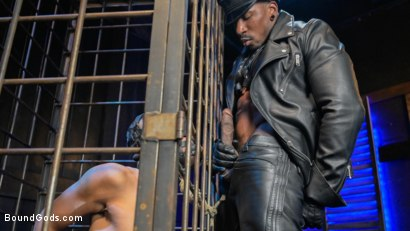 Photo number 3 from Rat in a Cage: Chance Summerlin Serves Leather Muscle God Max Konnor shot for Bound Gods on Kink.com. Featuring Max Konnor and Chance Summerlin in hardcore BDSM & Fetish porn.