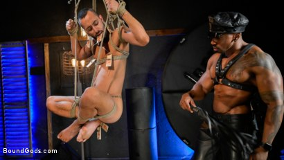 Photo number 5 from Rat in a Cage: Chance Summerlin Serves Leather Muscle God Max Konnor shot for Bound Gods on Kink.com. Featuring Max Konnor and Chance Summerlin in hardcore BDSM & Fetish porn.