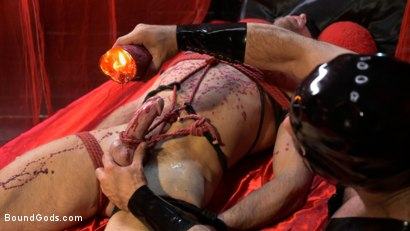 Photo number 9 from Bound Valentine: Alex Mecum Covered in Wax, Suspended, Pumped, Fucked shot for Bound Gods on Kink.com. Featuring Ricky Larkin and Alex Mecum in hardcore BDSM & Fetish porn.