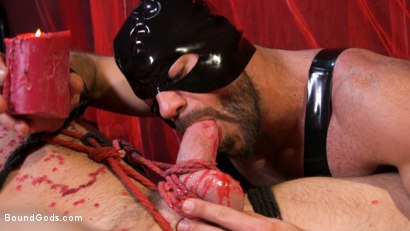 Photo number 10 from Bound Valentine: Alex Mecum Covered in Wax, Suspended, Pumped, Fucked shot for Bound Gods on Kink.com. Featuring Ricky Larkin and Alex Mecum in hardcore BDSM & Fetish porn.