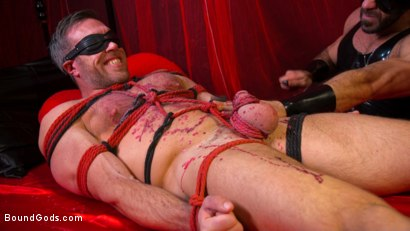 Photo number 12 from Bound Valentine: Alex Mecum Covered in Wax, Suspended, Pumped, Fucked shot for Bound Gods on Kink.com. Featuring Ricky Larkin and Alex Mecum in hardcore BDSM & Fetish porn.