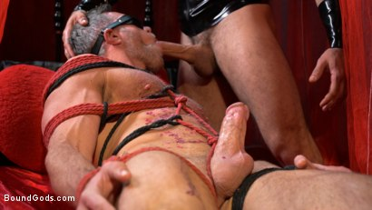 Photo number 13 from Bound Valentine: Alex Mecum Covered in Wax, Suspended, Pumped, Fucked shot for Bound Gods on Kink.com. Featuring Ricky Larkin and Alex Mecum in hardcore BDSM & Fetish porn.