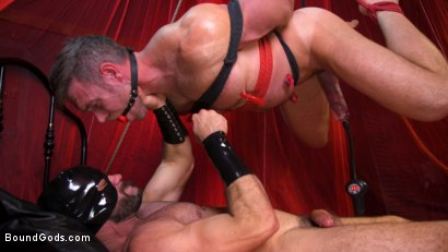Photo number 20 from Bound Valentine: Alex Mecum Covered in Wax, Suspended, Pumped, Fucked shot for Bound Gods on Kink.com. Featuring Ricky Larkin and Alex Mecum in hardcore BDSM & Fetish porn.