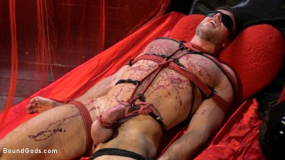 Photo number 6 from Bound Valentine: Alex Mecum Covered in Wax, Suspended, Pumped, Fucked shot for Bound Gods on Kink.com. Featuring Ricky Larkin and Alex Mecum in hardcore BDSM & Fetish porn.