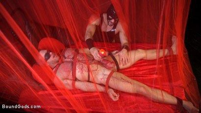 Photo number 8 from Bound Valentine: Alex Mecum Covered in Wax, Suspended, Pumped, Fucked shot for Bound Gods on Kink.com. Featuring Ricky Larkin and Alex Mecum in hardcore BDSM & Fetish porn.