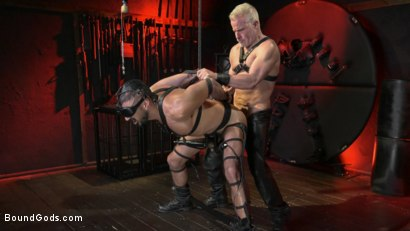 Photo number 9 from Power Fuck: Hot Leather Men Inflict Muscle Domination & Intense Pain shot for Bound Gods on Kink.com. Featuring Marco Napoli and Dale Savage in hardcore BDSM & Fetish porn.