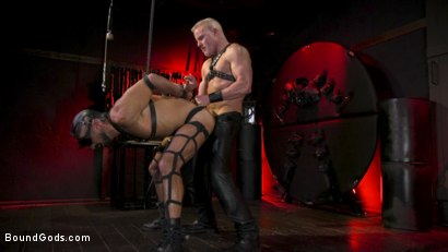 Photo number 11 from Power Fuck: Hot Leather Men Inflict Muscle Domination & Intense Pain shot for Bound Gods on Kink.com. Featuring Marco Napoli and Dale Savage in hardcore BDSM & Fetish porn.