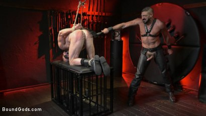 Photo number 14 from Power Fuck: Hot Leather Men Inflict Muscle Domination & Intense Pain shot for Bound Gods on Kink.com. Featuring Marco Napoli and Dale Savage in hardcore BDSM & Fetish porn.