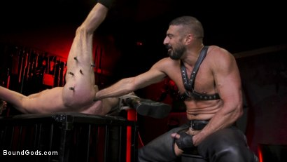 Photo number 18 from Power Fuck: Hot Leather Men Inflict Muscle Domination & Intense Pain shot for Bound Gods on Kink.com. Featuring Marco Napoli and Dale Savage in hardcore BDSM & Fetish porn.