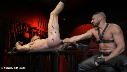 Photo number 20 from Power Fuck: Hot Leather Men Inflict Muscle Domination & Intense Pain shot for Bound Gods on Kink.com. Featuring Marco Napoli and Dale Savage in hardcore BDSM & Fetish porn.