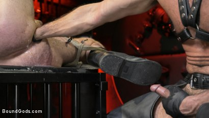 Photo number 21 from Power Fuck: Hot Leather Men Inflict Muscle Domination & Intense Pain shot for Bound Gods on Kink.com. Featuring Marco Napoli and Dale Savage in hardcore BDSM & Fetish porn.
