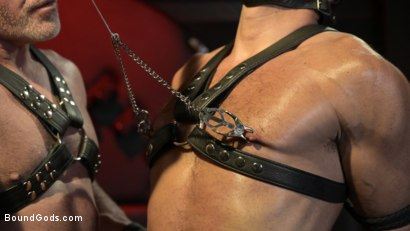 Photo number 2 from Power Fuck: Hot Leather Men Inflict Muscle Domination & Intense Pain shot for Bound Gods on Kink.com. Featuring Marco Napoli and Dale Savage in hardcore BDSM & Fetish porn.