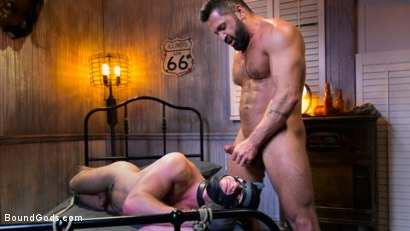 Photo number 27 from Housebroken: Beefy Underwear Pervert Breaks Into The Wrong House shot for Bound Gods on Kink.com. Featuring Mac Savage and Dominic Pacifico in hardcore BDSM & Fetish porn.
