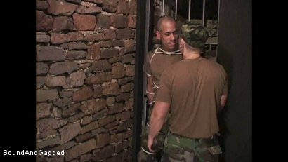 "Photo number 2 from BONDAGE BUDDIES: MILITARY TIES - Scene 1 ""Hello, Fucker"" shot for Bound And Gagged on Kink.com. Featuring Diego Alvarez and Doug Jeffries in hardcore BDSM & Fetish porn."