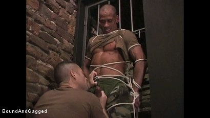 "Photo number 15 from BONDAGE BUDDIES: MILITARY TIES - Scene 1 ""Hello, Fucker"" shot for Bound And Gagged on Kink.com. Featuring Diego Alvarez and Doug Jeffries in hardcore BDSM & Fetish porn."
