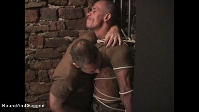 "Photo number 3 from BONDAGE BUDDIES: MILITARY TIES - Scene 1 ""Hello, Fucker"" shot for Bound And Gagged on Kink.com. Featuring Diego Alvarez and Doug Jeffries in hardcore BDSM & Fetish porn."
