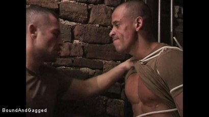 "Photo number 4 from BONDAGE BUDDIES: MILITARY TIES - Scene 1 ""Hello, Fucker"" shot for Bound And Gagged on Kink.com. Featuring Diego Alvarez and Doug Jeffries in hardcore BDSM & Fetish porn."